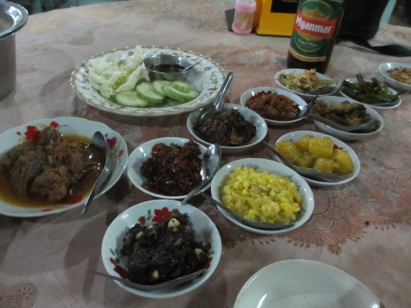 Burmese traditional all-you-can-eat: Washed down with an ice cold Myanmar beer.
